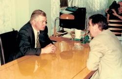Зустріч Голови партії В. П. Щербаня з губернатором Харківської області О. Дьоміним. Харків. 1998 рік.